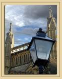 Lamp, roof and sky, Wells Cathedral