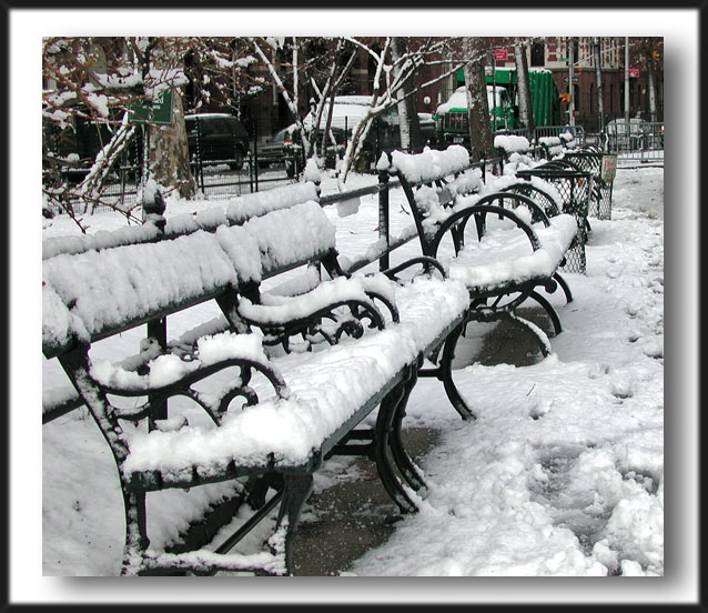 park benches in snow