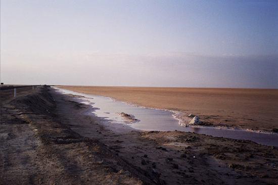 Salt lake covered in sand