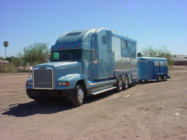 big rig with a really neat camper sleeper trailer
