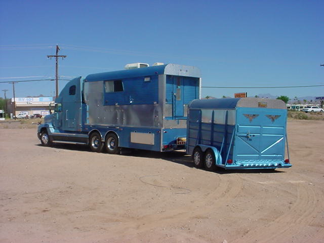 big rig Totor Home <br>sleeper trailer on the back
