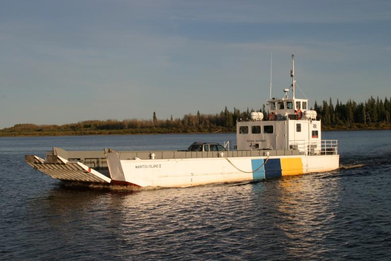 the Manitou Island II is the ferry running between Moosonee and Moose Factory Island