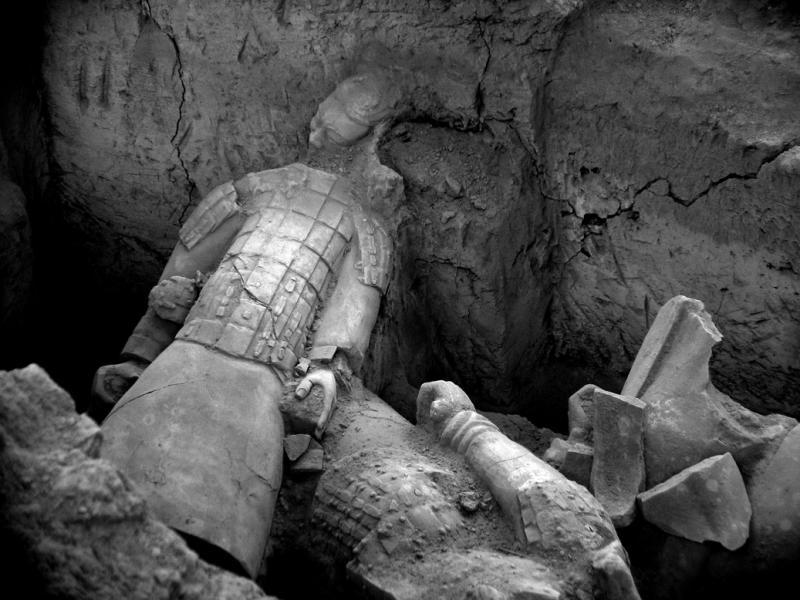 Broken terracotta figures, Emperor Qin's Tomb, Xian, China, 2004