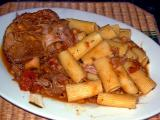 lamb shank in tomato - cannellini bean sauce with rigatoni