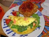 salmon, arugula and gorgonzola cheese omelet (brief recipe)