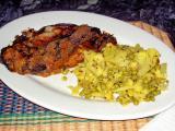 eggplant parmesan and curried caulilflower