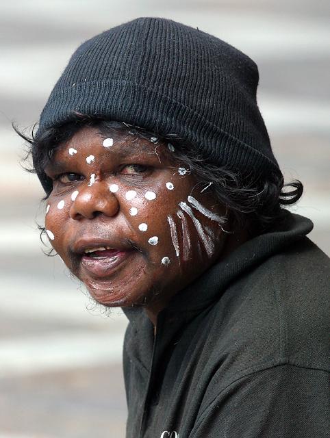 Aboriginal lady busker