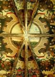Fresco on wooden ceiling in the Chapelle Royale of Rodez