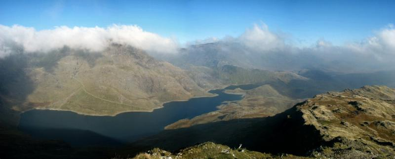 View over Llyn Llydaw and Crib Goch from Lliwedd