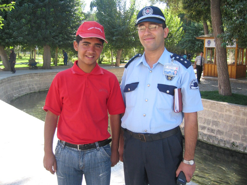 Here hes with his mentor in the training program.