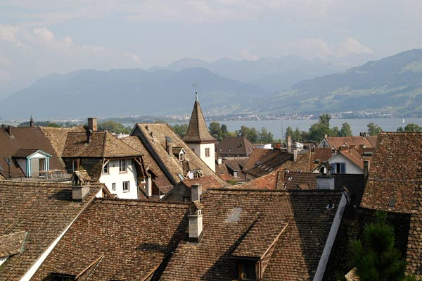 Looking across the rooftops to the Obersee and the Alps