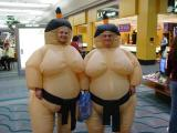 Sumo wrestlers shopping at Rivergate Mall