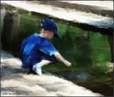 Boy Playing By Stream