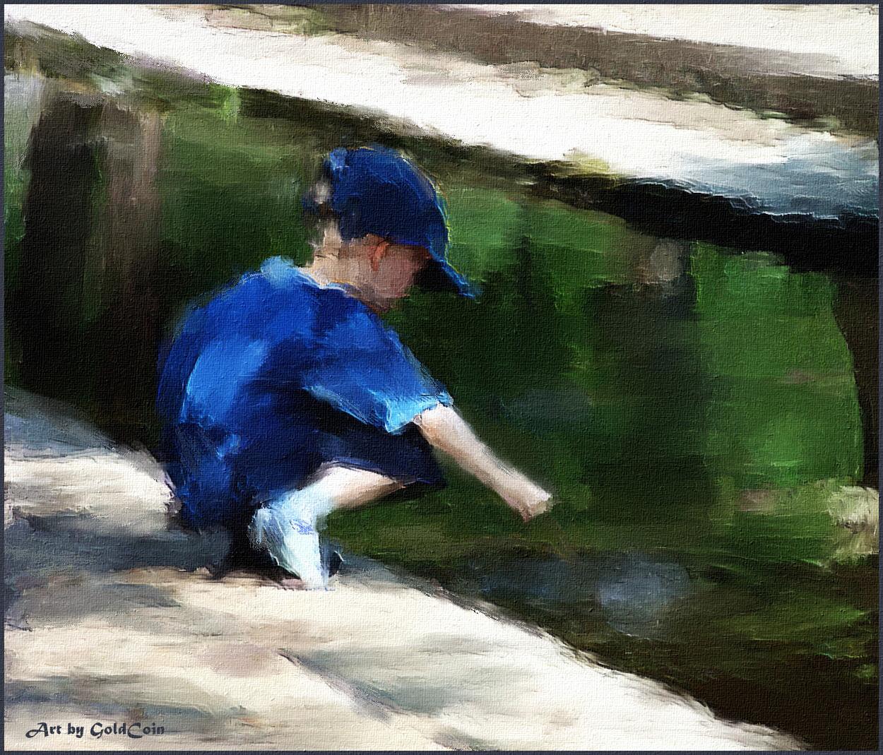 Boy Playing By Stream