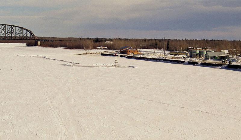The tripod on the frozen Nenana River