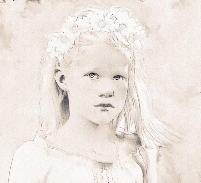 Sweet Girl - Sepia Sketch