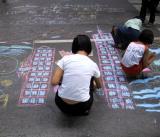 Girl draws the World Trade Center