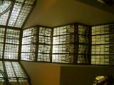 Inside of the building. Glass rooftop in the form of a ship. Very beautiful stained glass