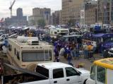 This is the view from on top of a bus in the tailgating parking lot.  It gives you a partial view of the scope of this event.