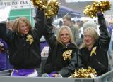 Here is a photo of some of the Viking Football Cheerleaders! They were riding through the tailgating lots hawking some photos of themselves.  Shameless self-promotion; can you blame them?