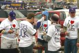 This group of Viking Football fans modified I Love NY t-shirts to read I Love MY Vikings