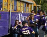 These Viking football fans were hanging out in front of their bus when they saw me approaching.