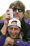 These Viking Football fans are wondering if they will be ready for the game. One is also a Nascar fan.