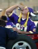 Before the football game, it's bottoms up!