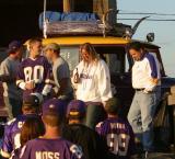 A purple van with horns