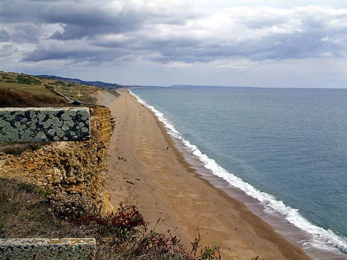 Chesil Beach from the cliffs at Burton Bradstock