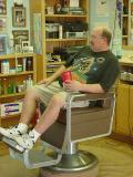 barber Bill watching TV