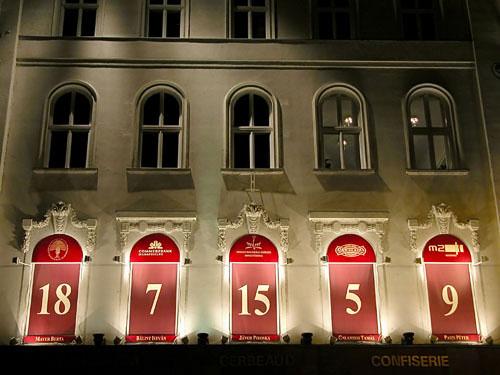 Advent calendar displayed on windows above the Gerbeaud Café