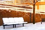 Snow bench in colours
