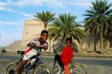 Local kids in front of Khasab Fort, Oman