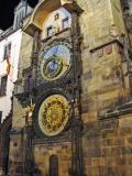 The famous astronomical clock in Prague's public square