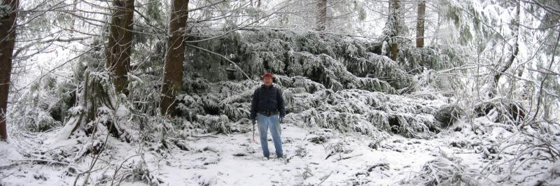 Don in front of the big blowdown