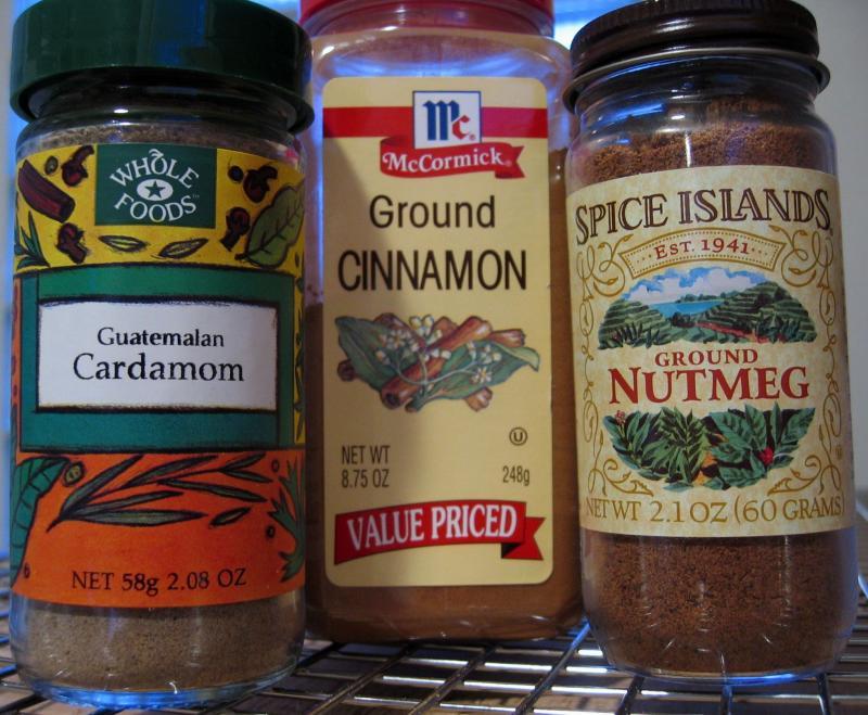 1/2 tsp. cinnamon, 1/4 tsp. cardamom & 1/4 tsp. nutmeg