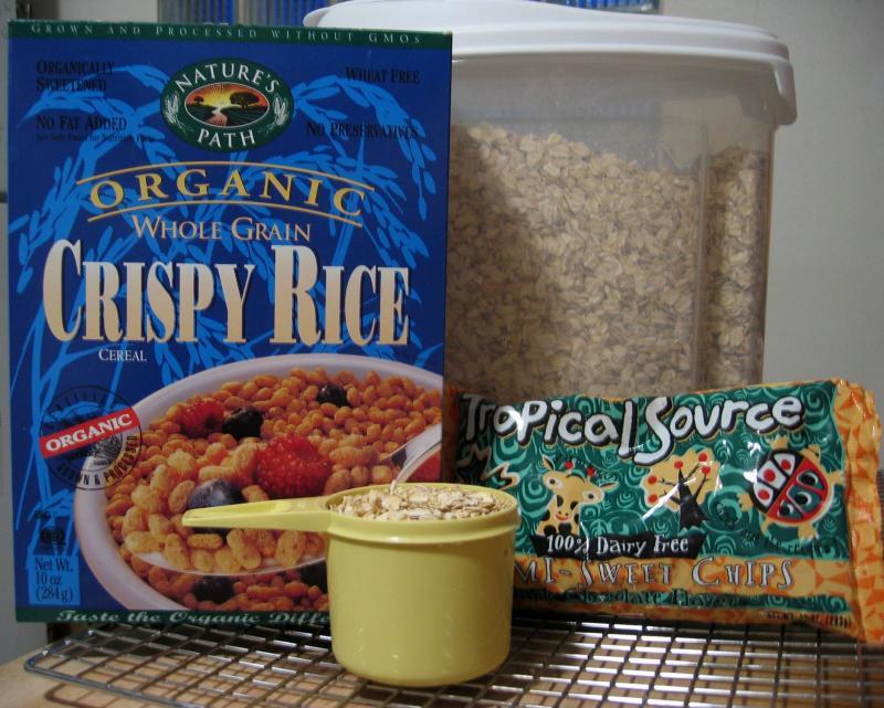 Stir in 2 c. oatmeal, 1 bag chocolate chips & 2 c. crispy rice