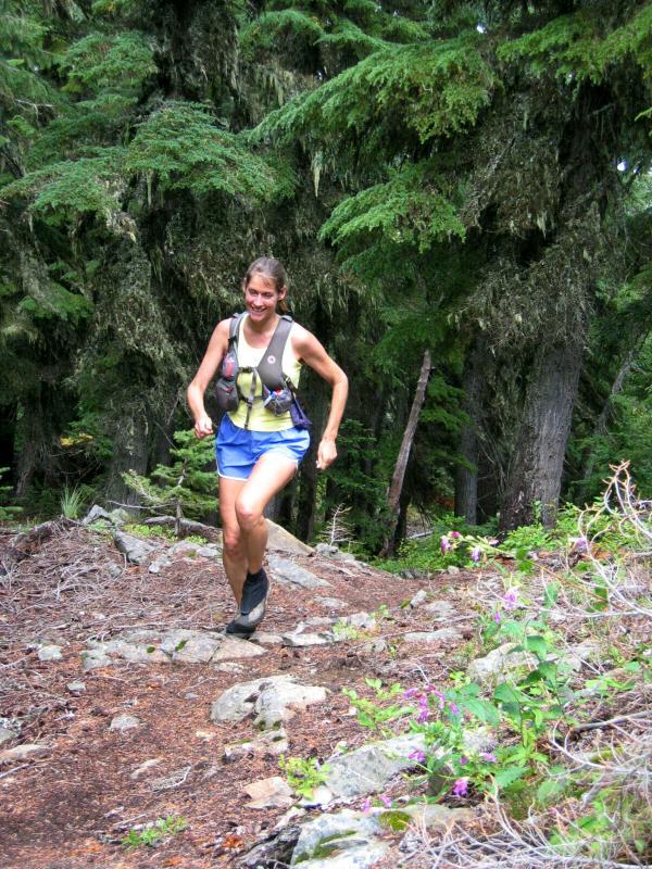 Stacey running uphill