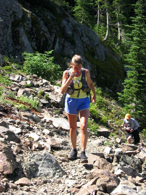 Stacey on the rocky section