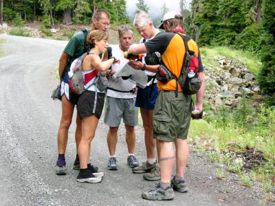 Consulting the map at No Name Ridge Road