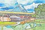 Epcot - Stamped Watercolor -
