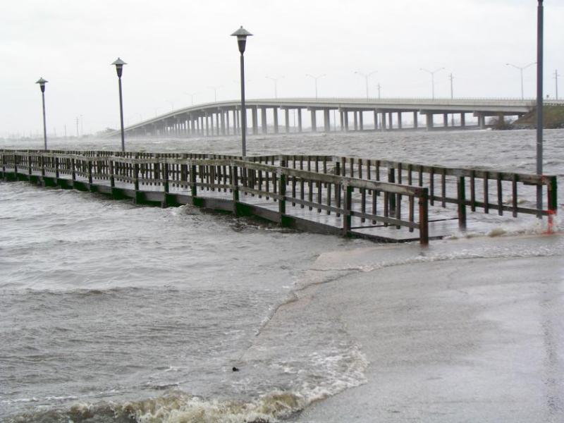 Storm surge at Eau Gallie Pier.