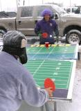 This is my first time to see ping pong played in a blizzard!