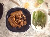 rack of lamb, roasted asparagus