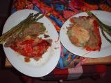 mashed potato stuffed peppers and asparagus