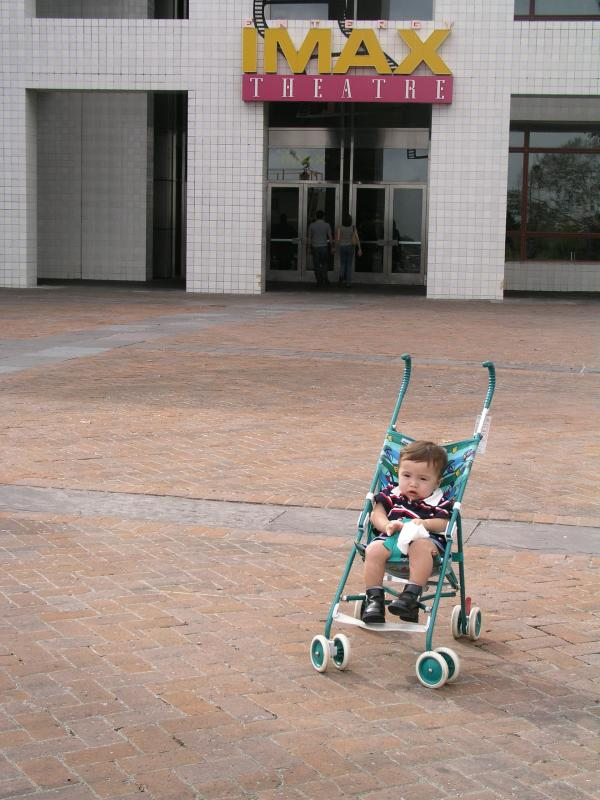 Baby Kyle outside the IMAX theater