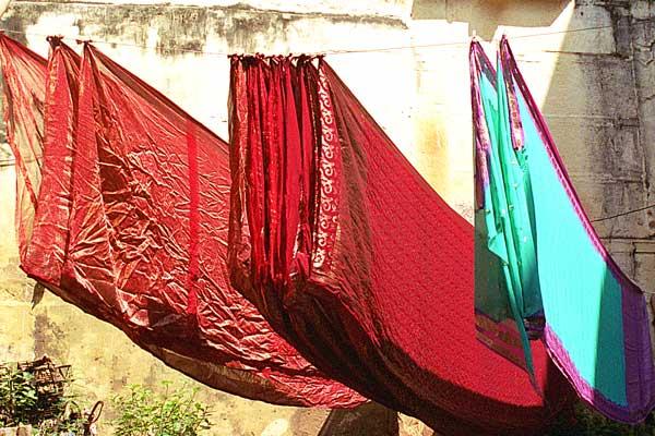 sarees-drying