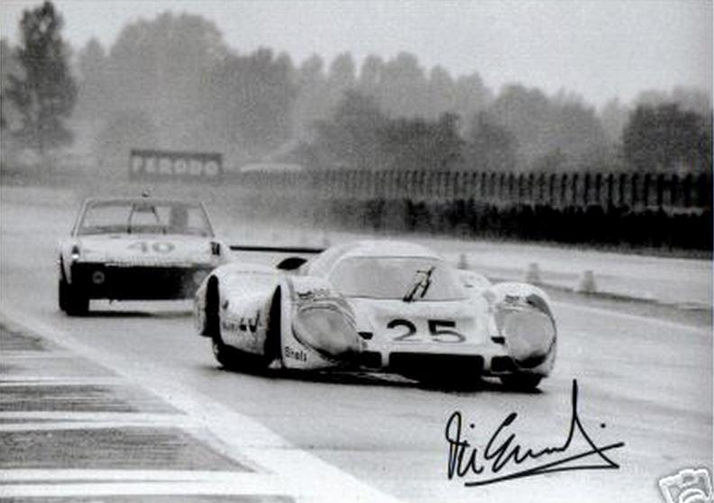 Vic Elford at the wheel of the Porsche 917 Long Tail No 25 under rain at the 24 Hours of Le Mans 1970