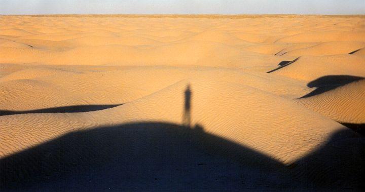 My shadow in the Sahara dunes